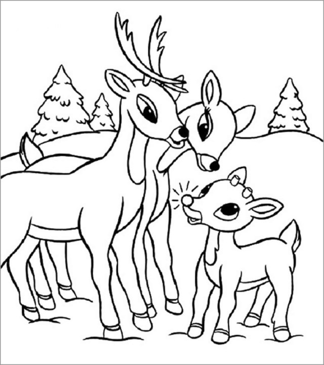 Reindeers Family Coloring Page for Kids - ColoringBay