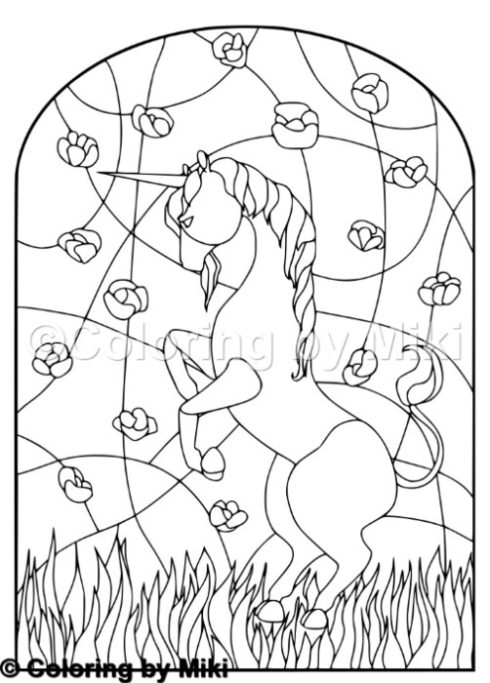 Unicorn Stained Glass Coloring Page 198