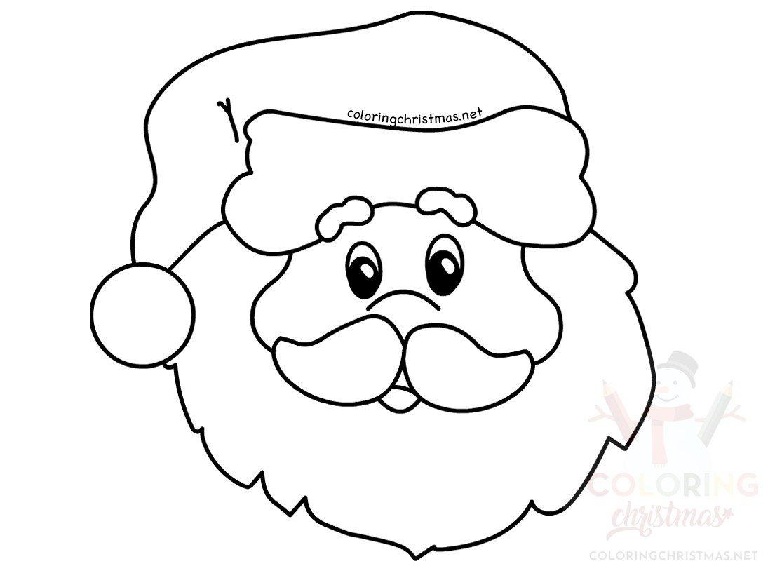 Santa Claus Simple Portrait Coloring Page Coloring Christmas