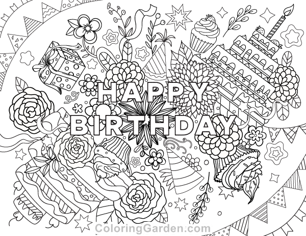 Happy Birthday Adult Coloring Page