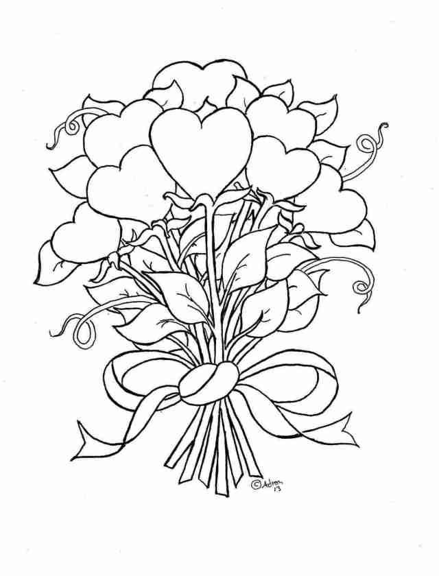 Colouring Pages Hearts And Flowers Free Printable Heart Coloring