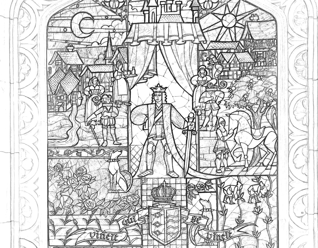 Beauty And The Beast Stained Glass Coloring Page