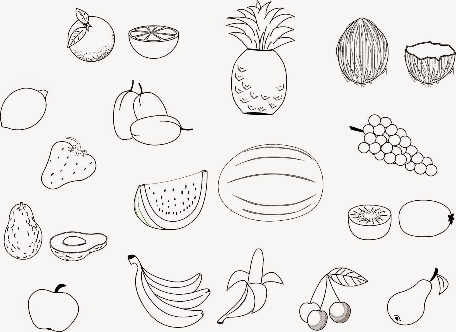Fruits Printable Coloring Pages