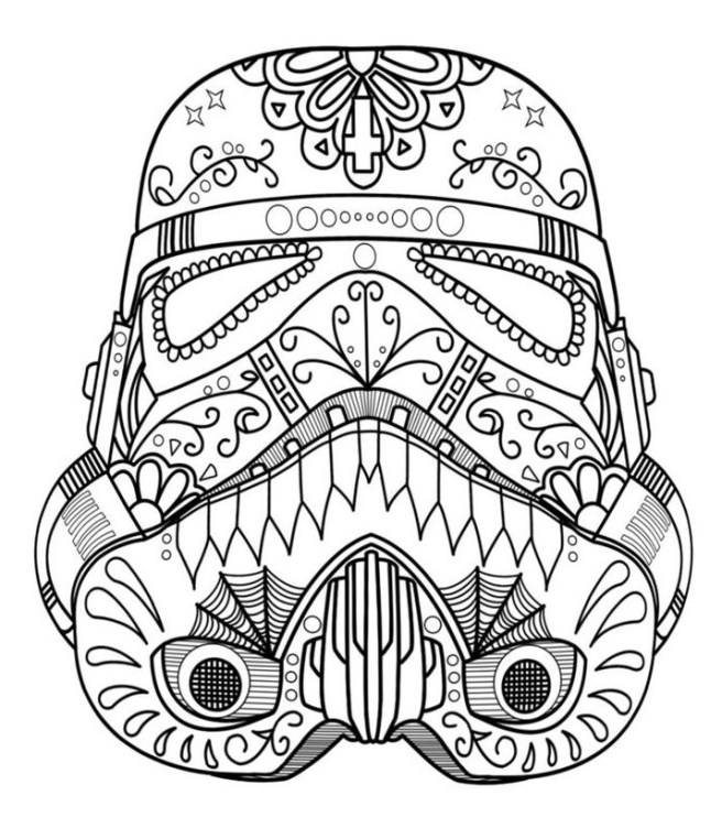 Sugar Skull Storm trooper star wards coloring colouring page