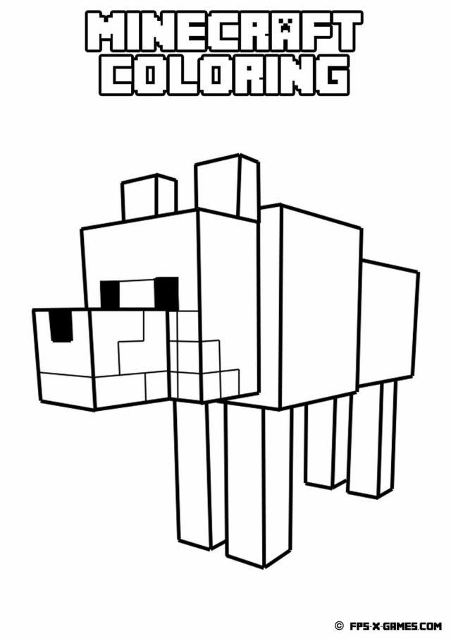 Minecraft Dog Coloring Pages - Coloring Home