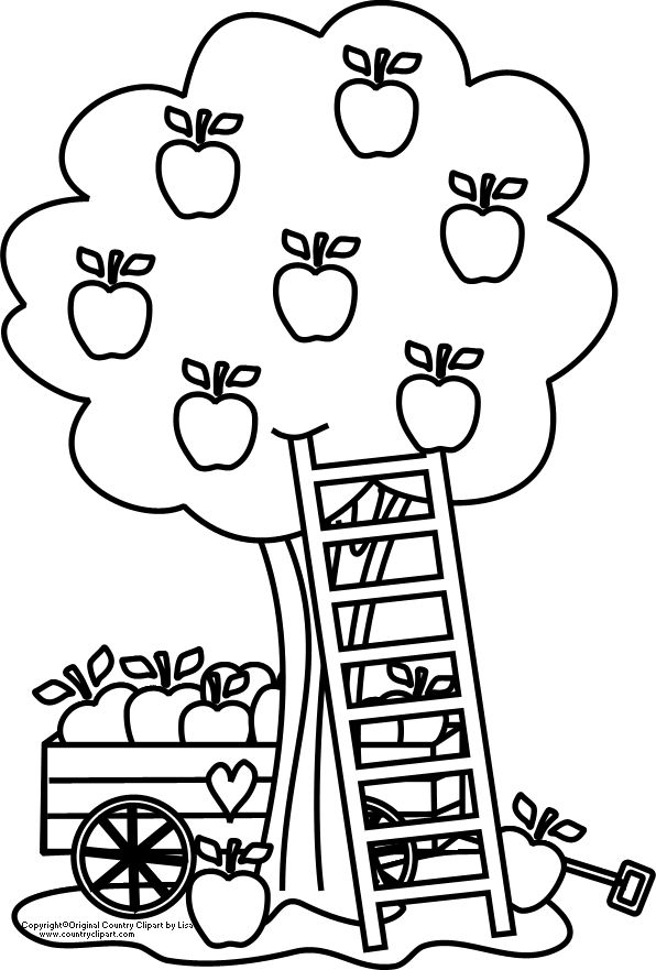 Carriage Under An Apple Tree Coloring Page Kids Play Color Fall Coloring Home