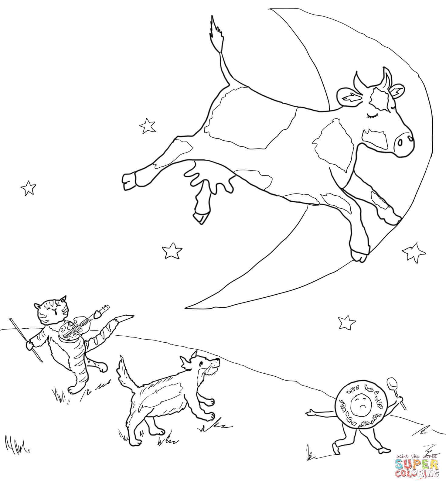 Hey Diddle Diddle The Cat And The Fiddle Coloring Page