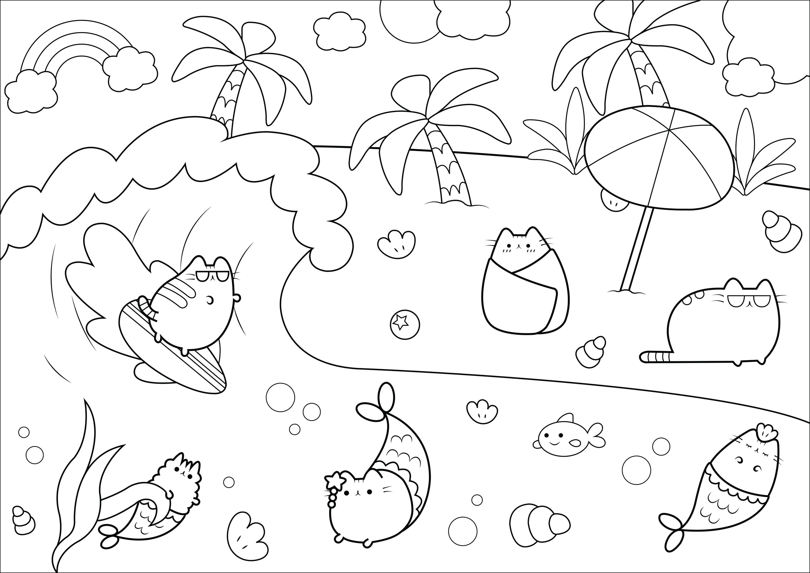 Pusheen Coloring Pages Coloring Home
