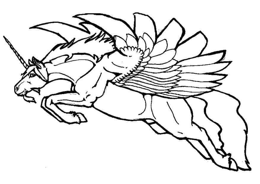 Flying Unicorn Coloring Pages Coloring Home