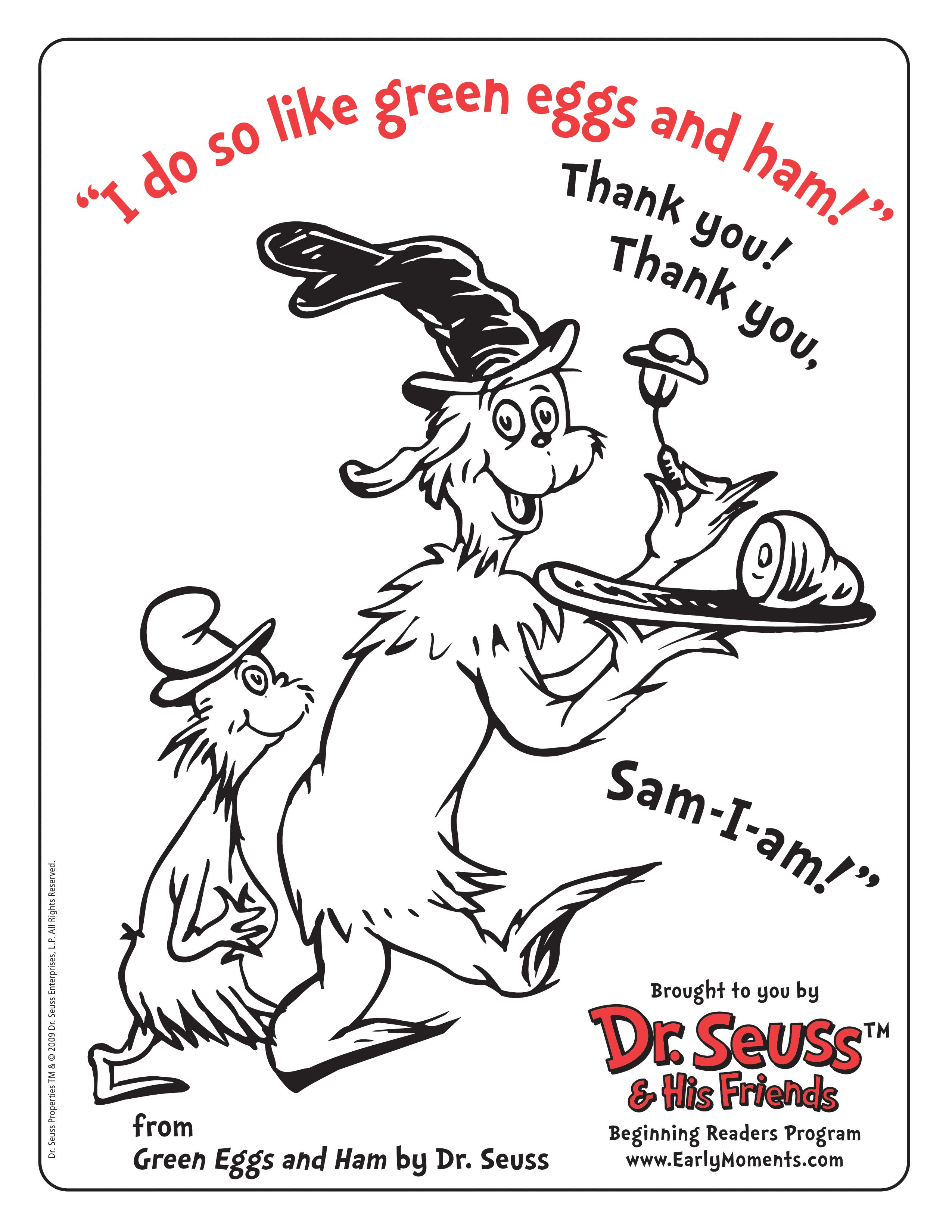 Green Eggs And Ham Coloring Page Download