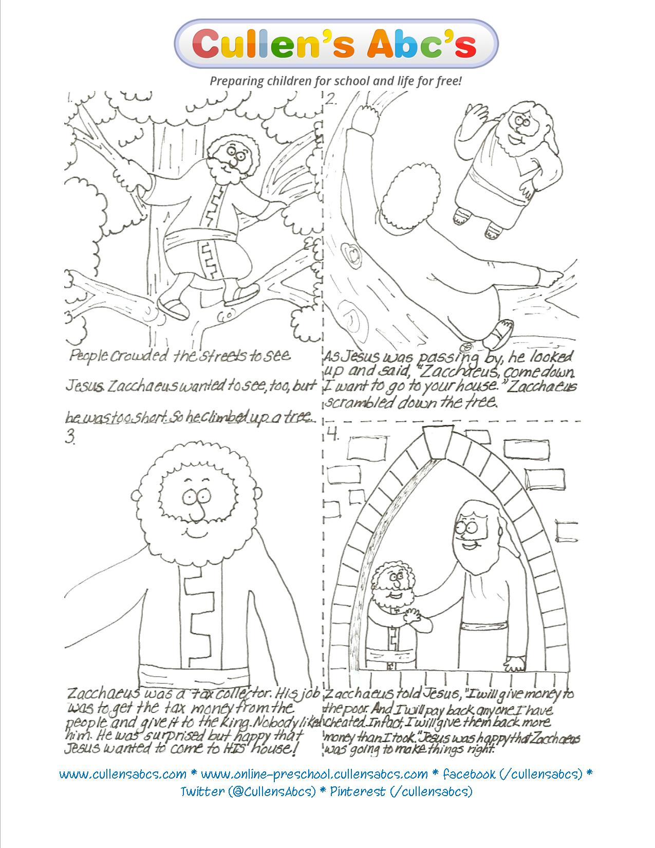 Zacchaeus Coloring Page Kids