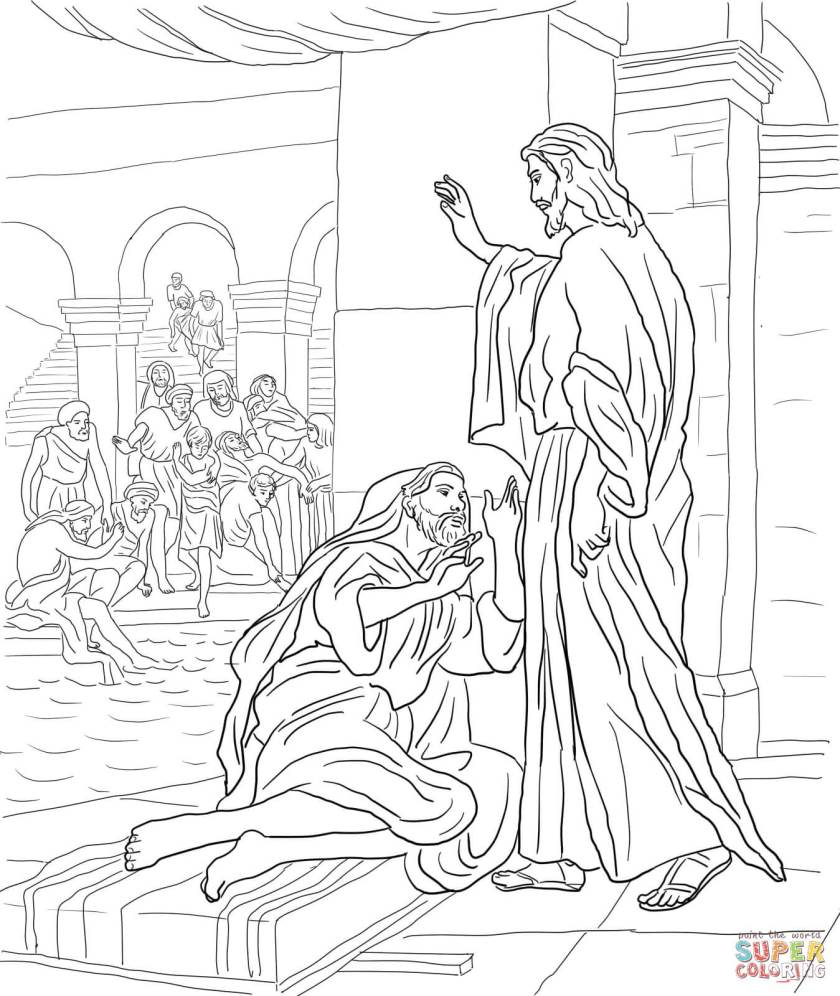 jesus heals a manthe pool coloring page  coloring home