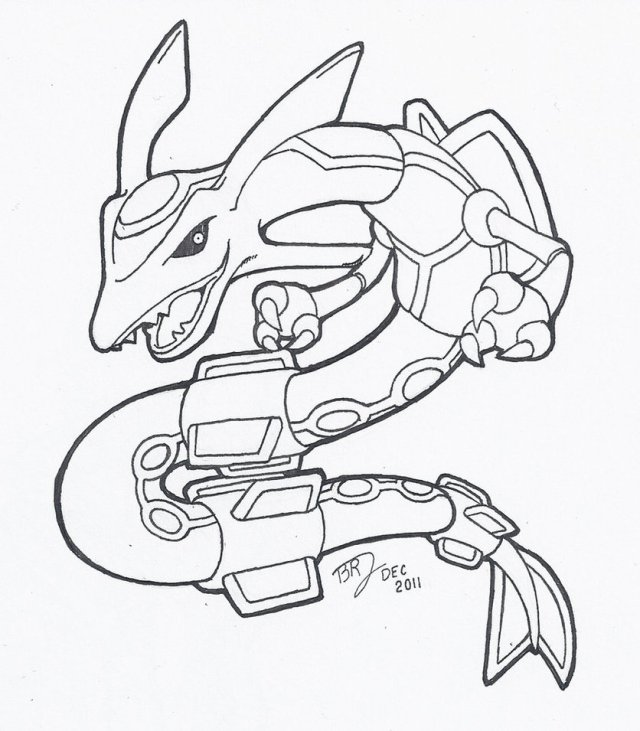 Pokemon Rayquaza Coloring Page - Coloring Home