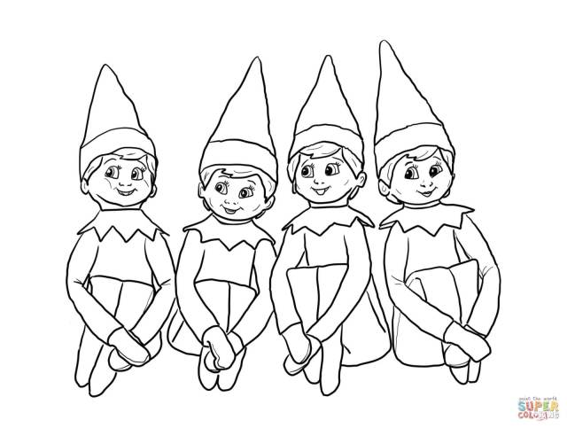 Elves On The Shelf Coloring Page  Free Printable Coloring Pages