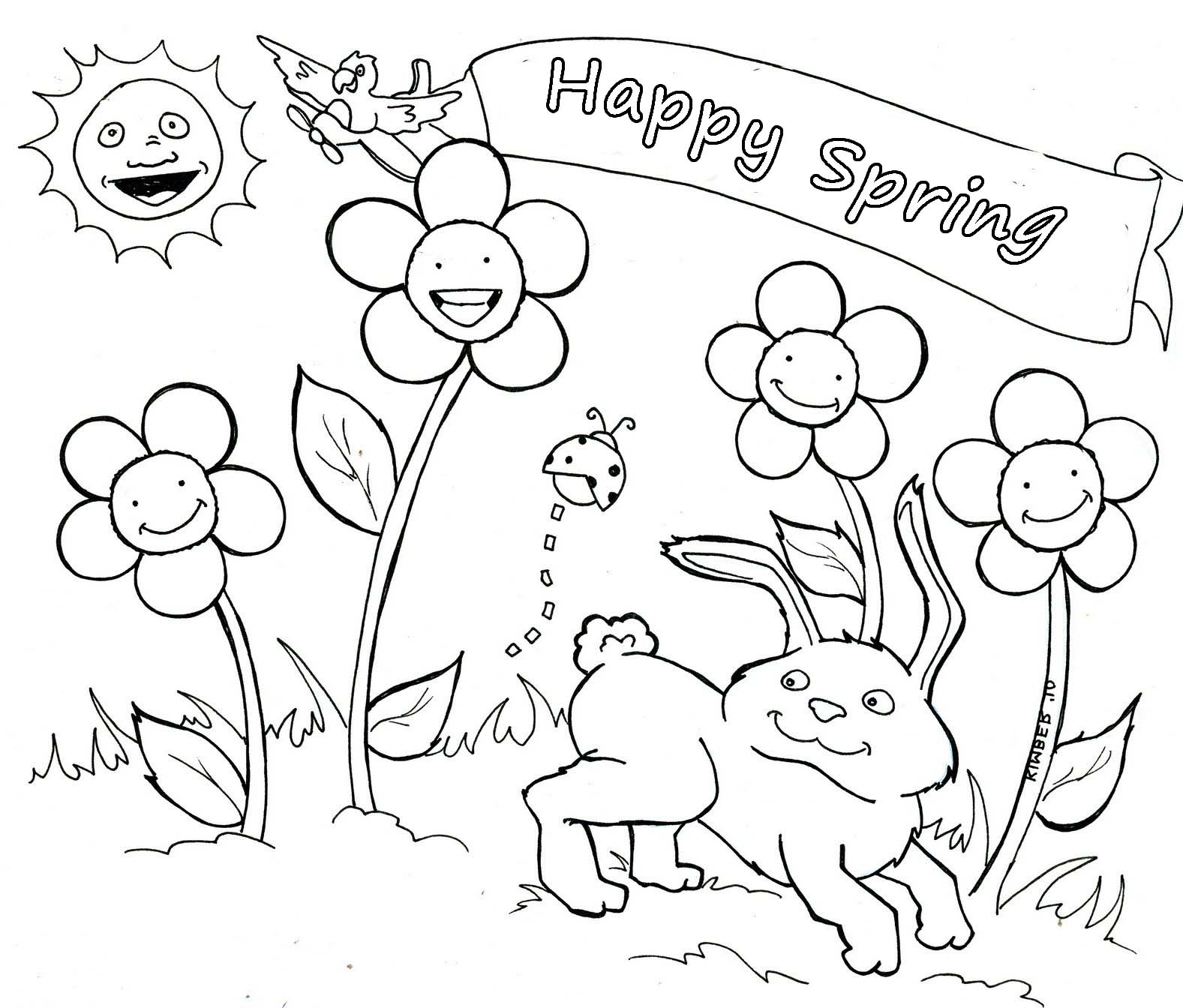 Coloring Pages Free For Kids Spring Time