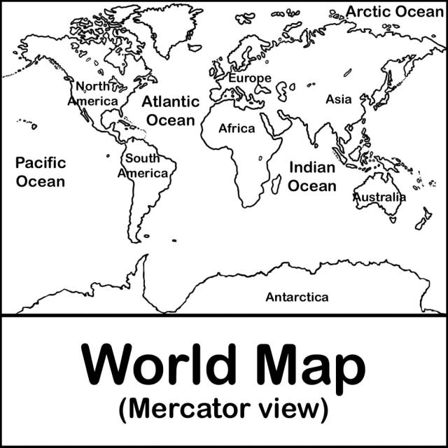 Labeled Map Of The United Large Blank Continents Coloring Page