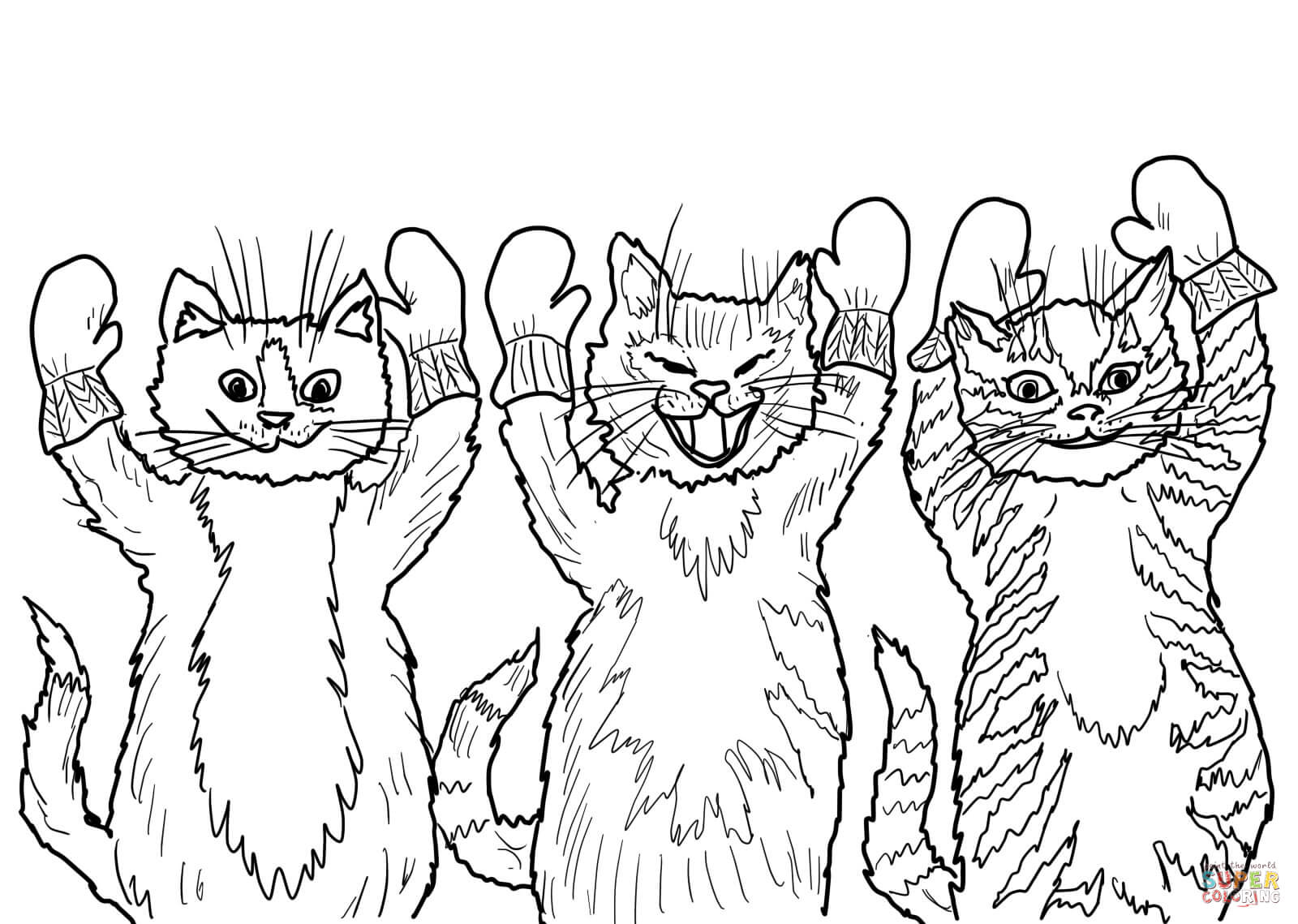 Three Little Kittens Coloring Page