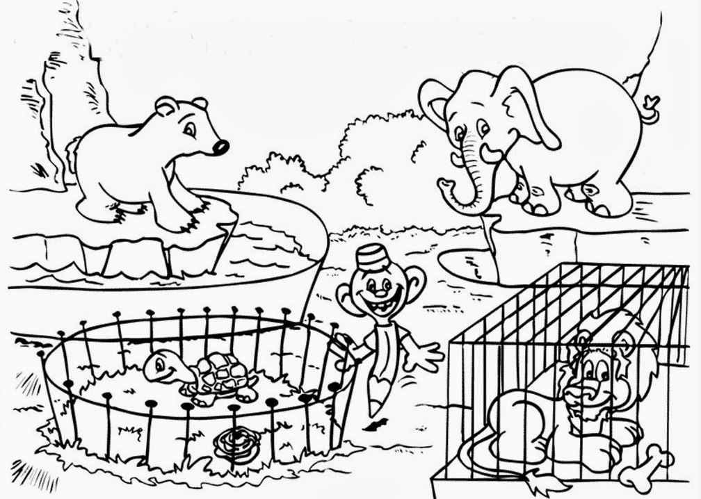 Cute Zoo Animal Coloring Pages - Coloring Home | printable coloring zoo animals