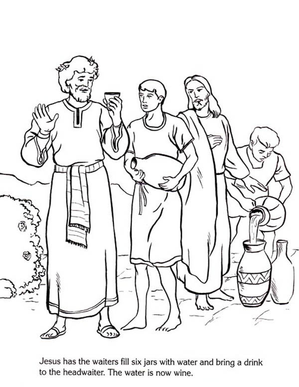 Jesus Changes Water Wine Coloring Page