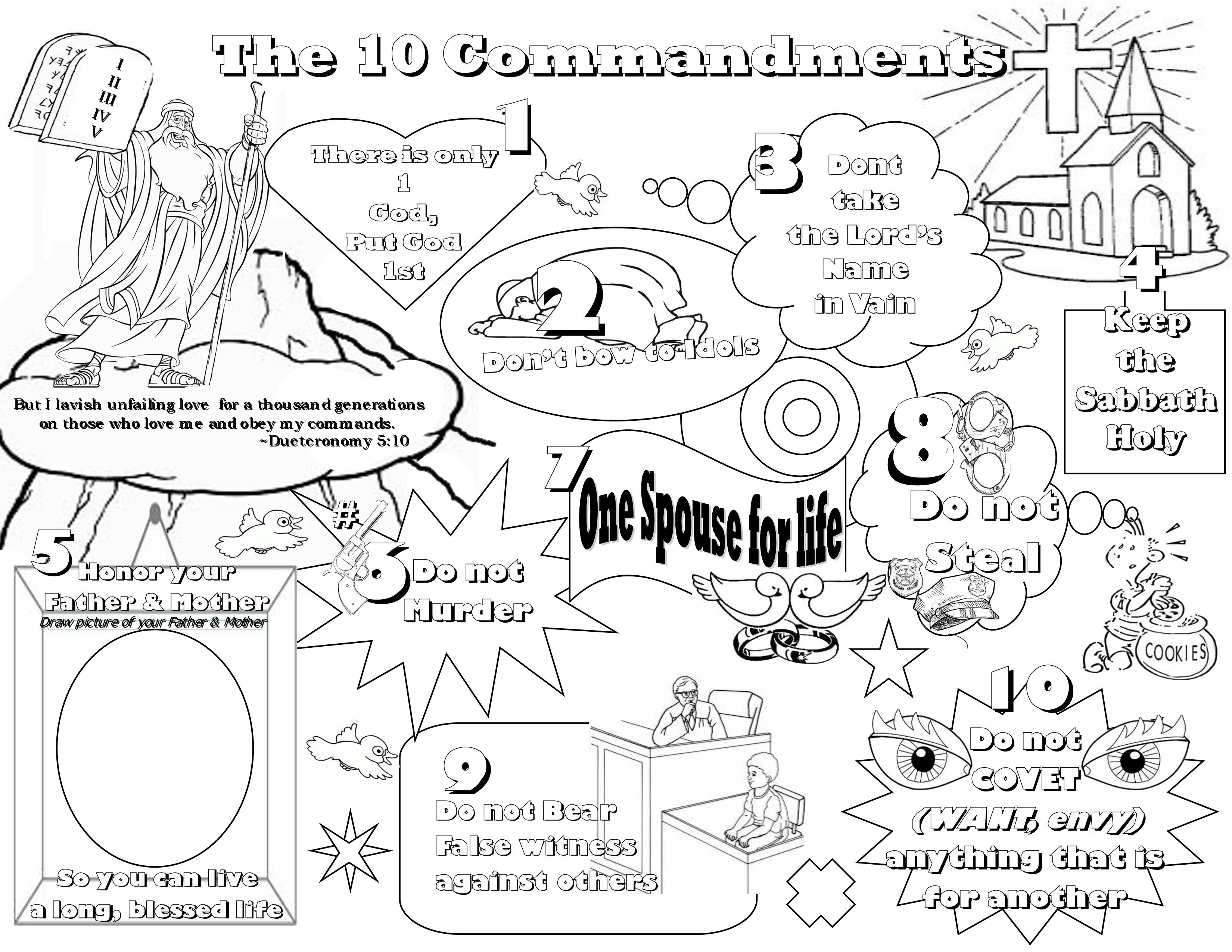 Kindergarten Ten Commandments Coloring Pages