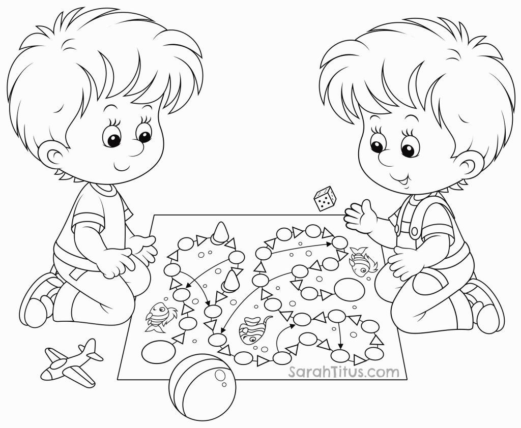 Coloring Pages Children Playing