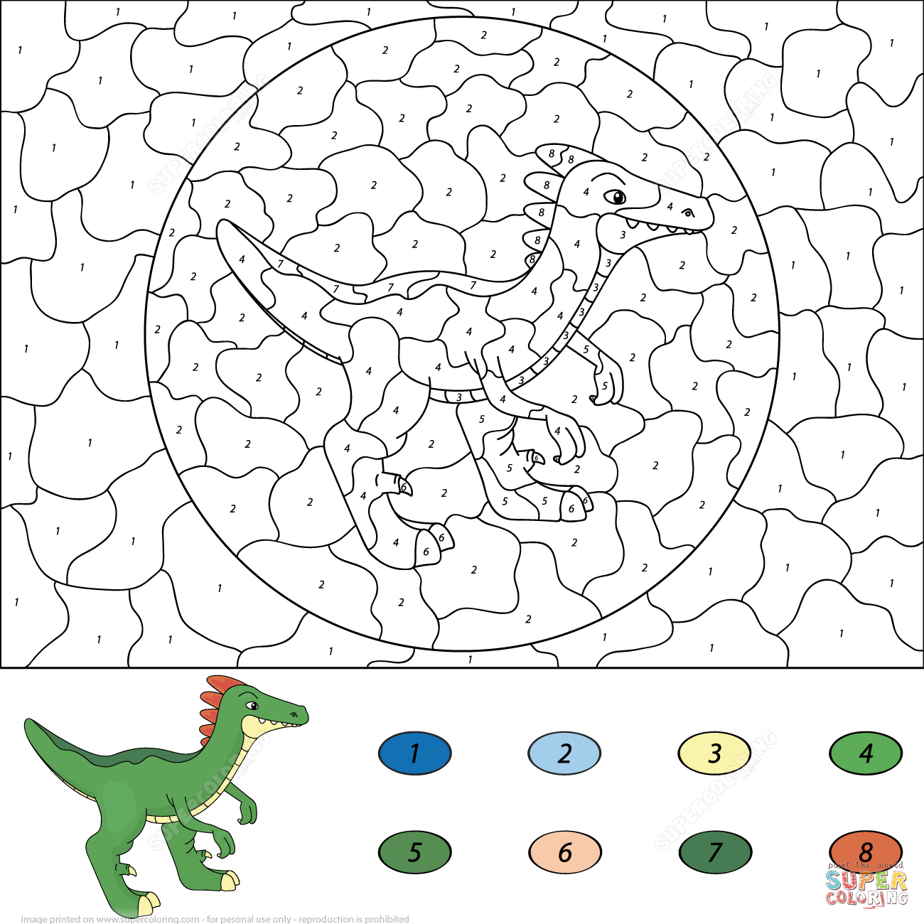 Dinosaur Coloring Pages By Numbers