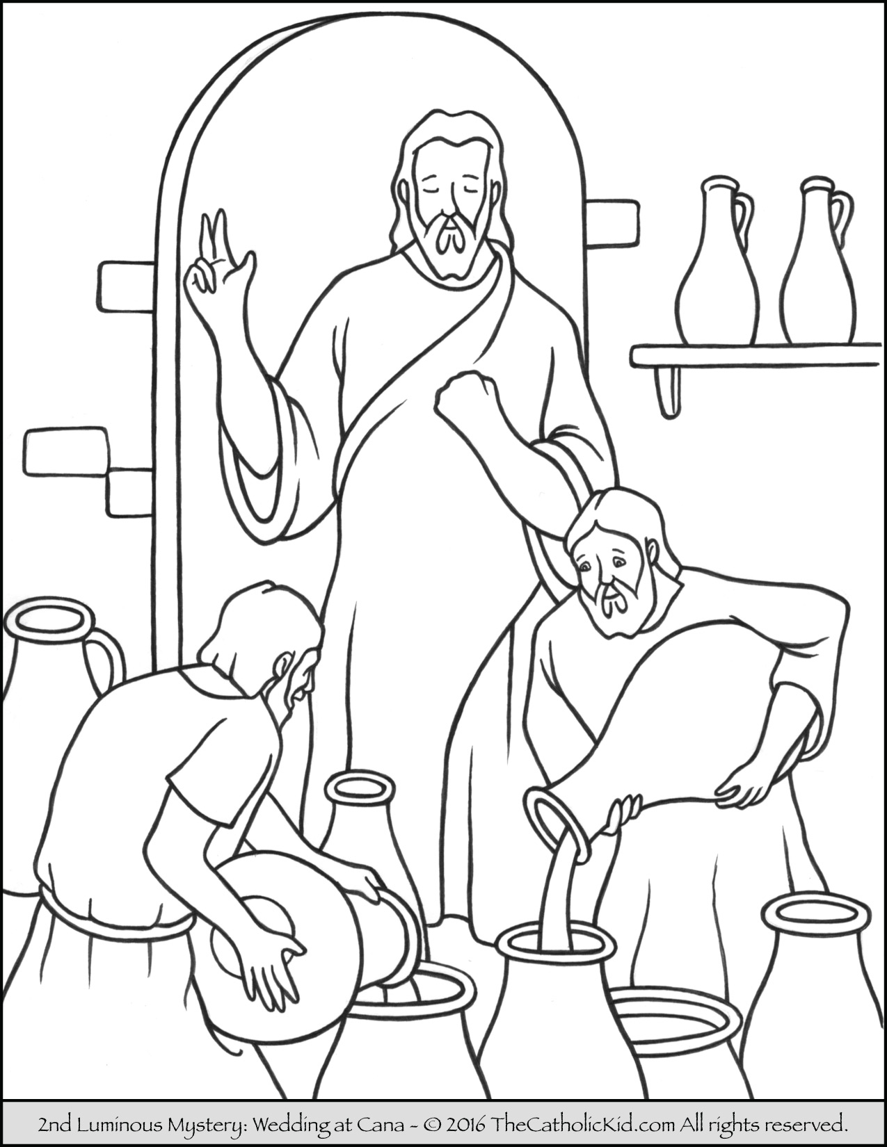 Jesus Turns Water Into Wine Coloring Pages
