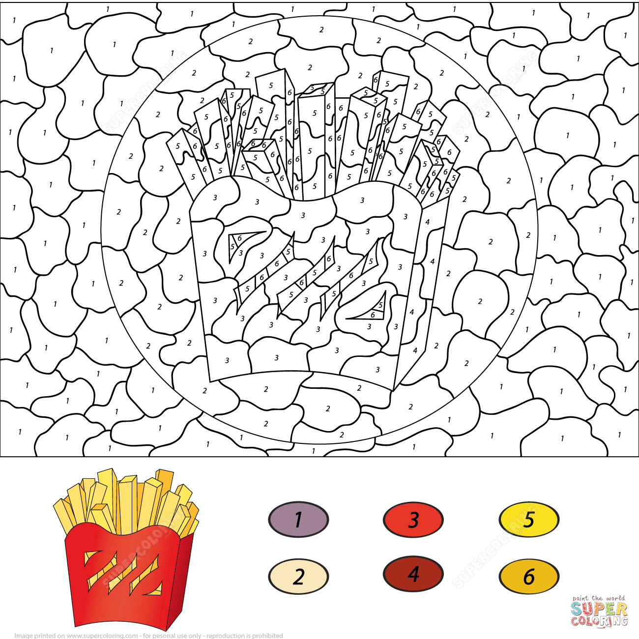 French Fries Color By Number Coloring Page