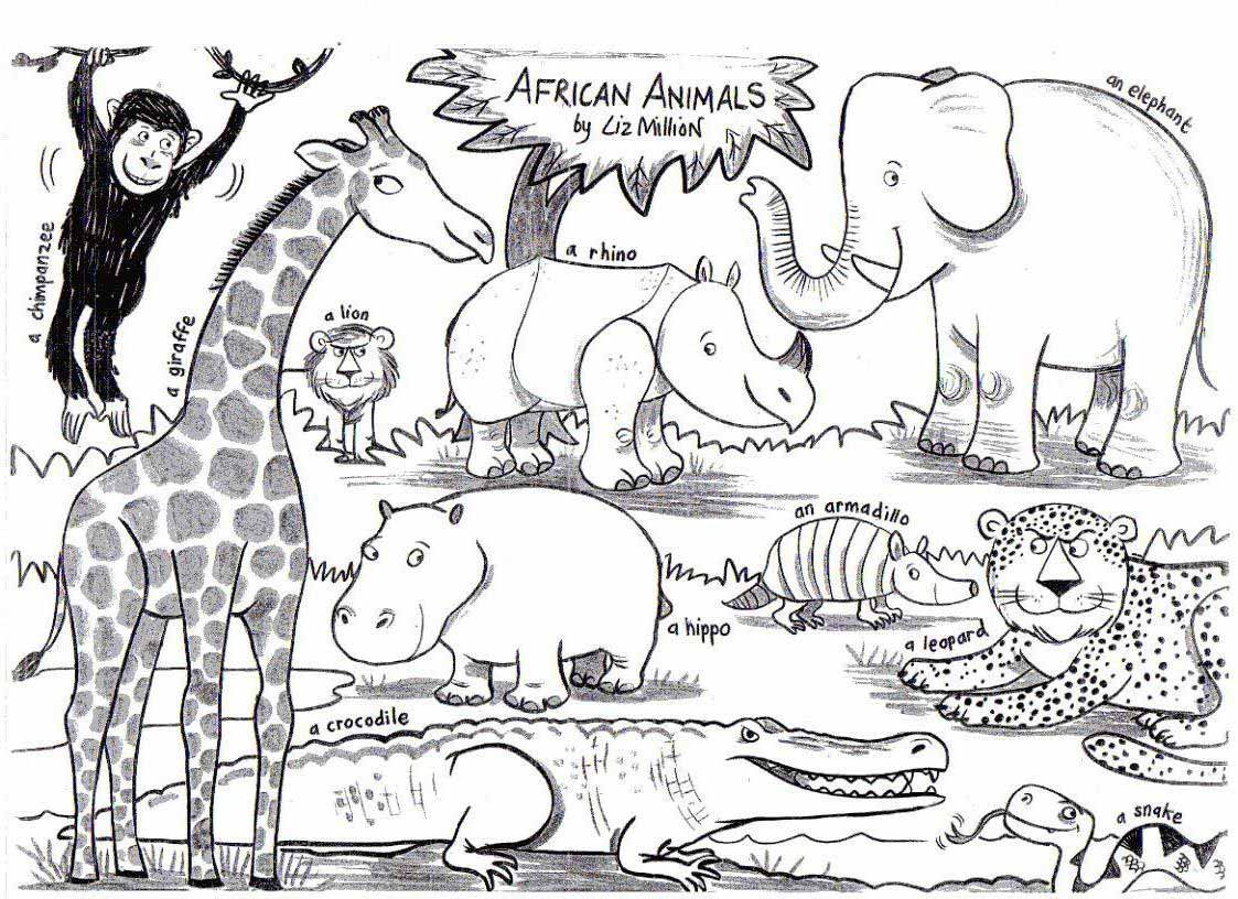 African Animal Coloring Pages Printable