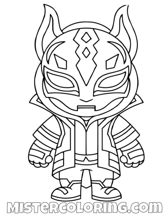 Coloring Pages : Free Drift Skin Chibi Fortnite Coloring