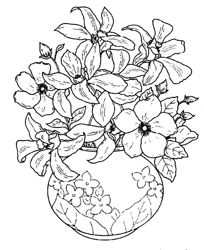 Vase And Flowers Coloring Page - Coloring Home | colouring pages flowers in a vase