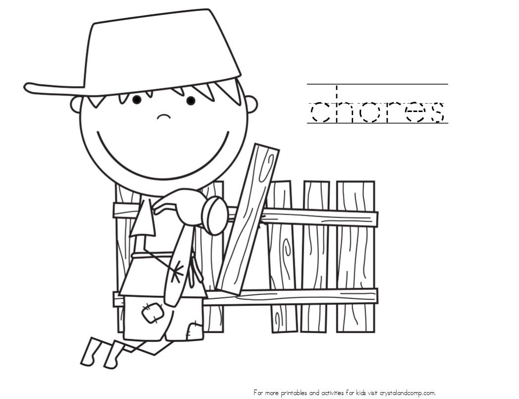 Coloring Pages Kids Doing Chores