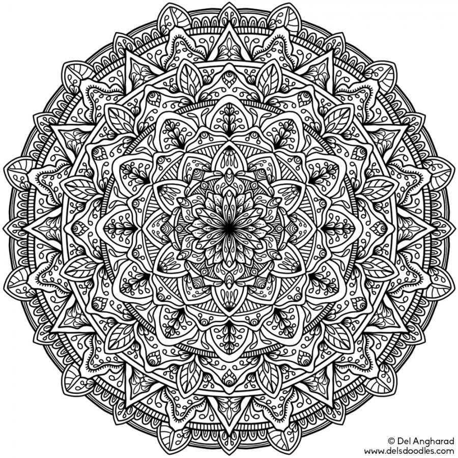 Hard Pretty Mandala Coloring Pages Novocom Top