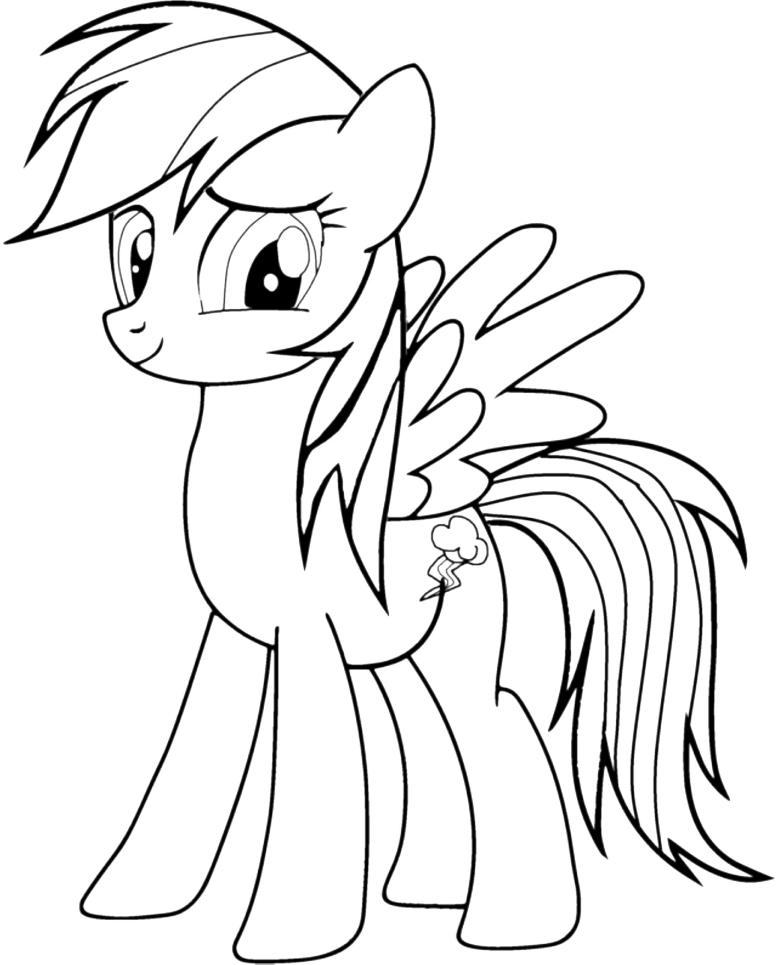 Cute My Little Pony Coloring Pages Rainbow Dash Printable Kids
