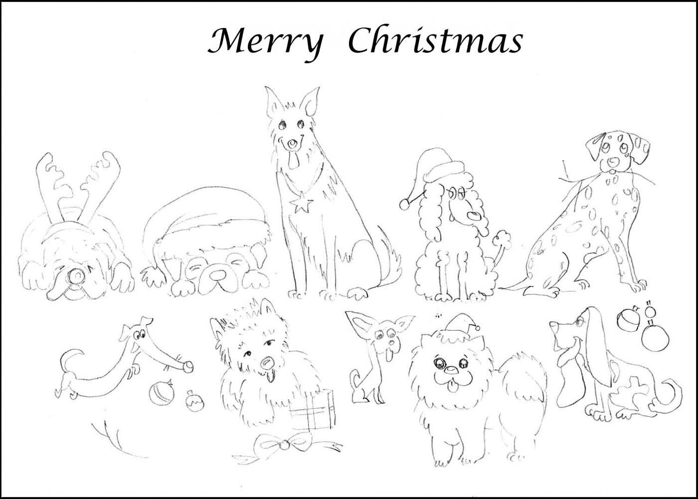 Christmas Coloring Pages Of A Dog