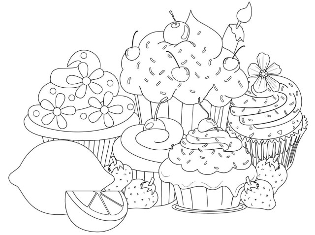 Dessert Coloring Pages Easy To Color - Drewolanoff.com - Coloring Home