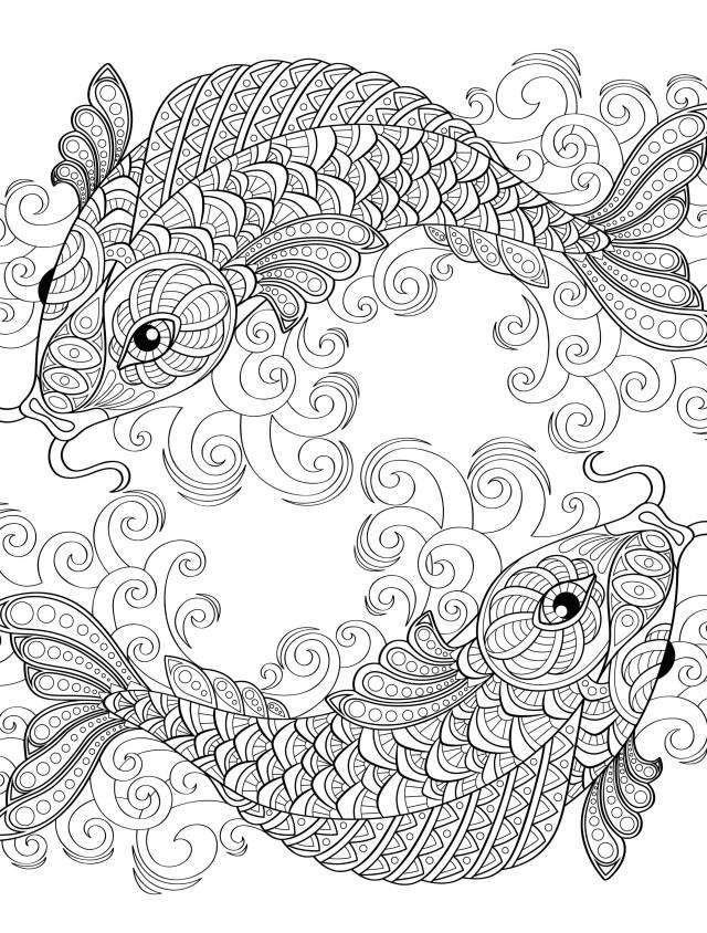 Koi Fish Coloring Page - Coloring Home