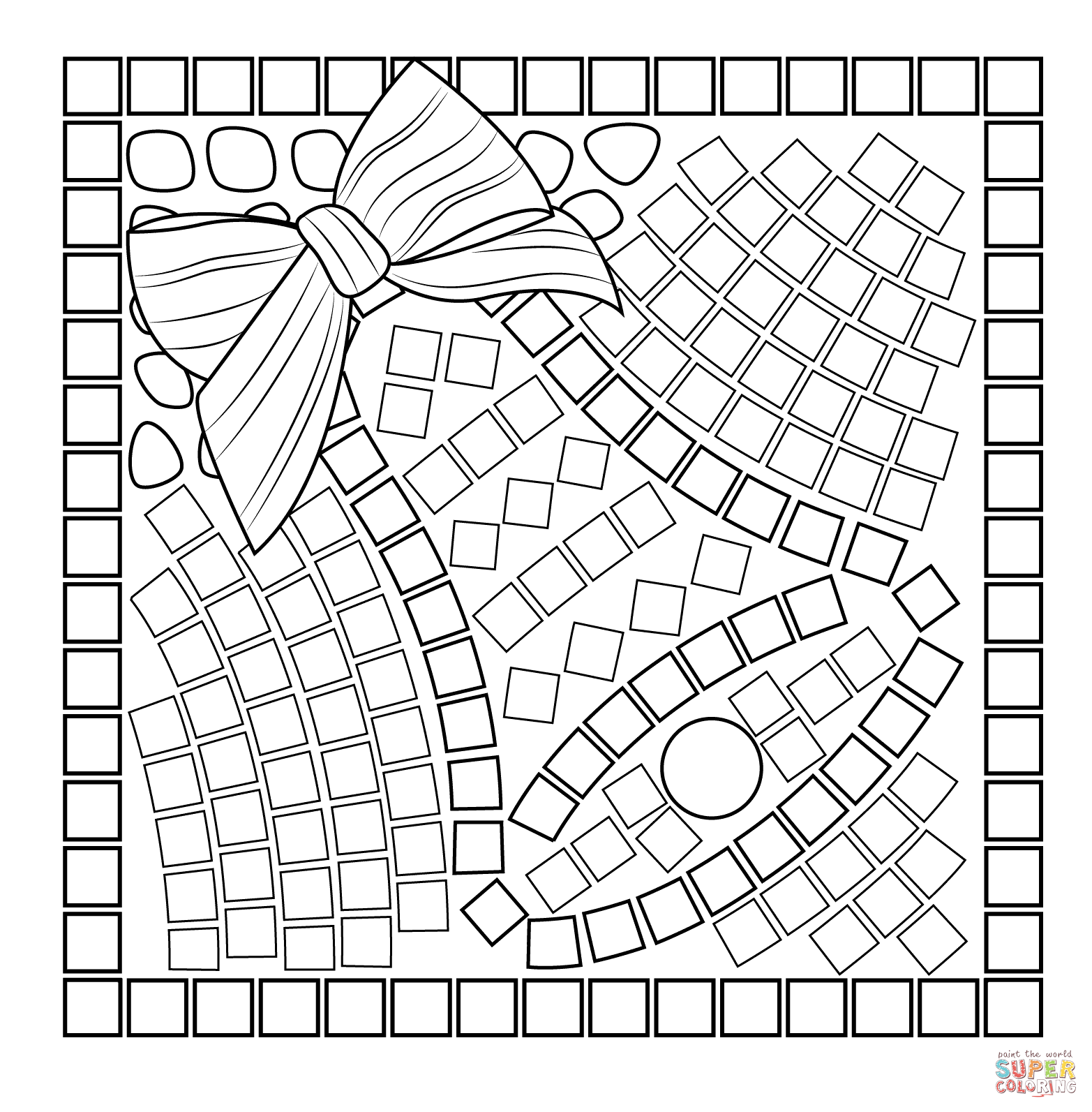 Roman Mosaic Coloring Pages Sketch Coloring Page