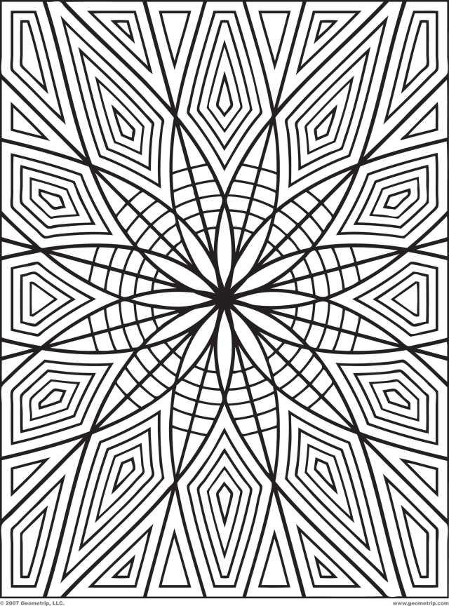 28 Free Geometric Coloring Pages - Large Image - VoteForVerde.com