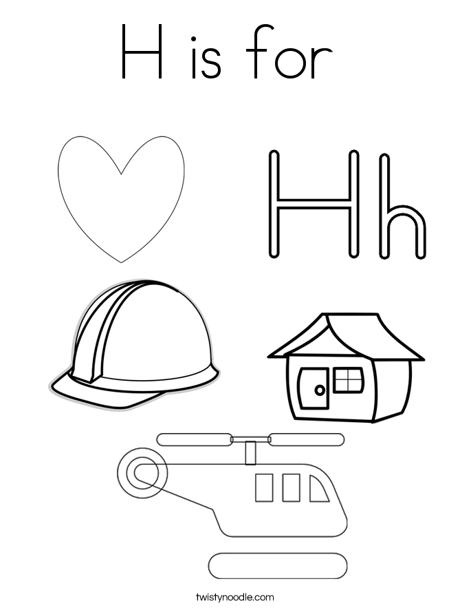 things that start  the letter h coloring pages