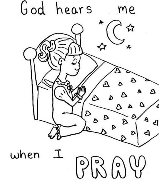 Pray Coloring Sheet  Sunday School Coloring Pages, Preschool