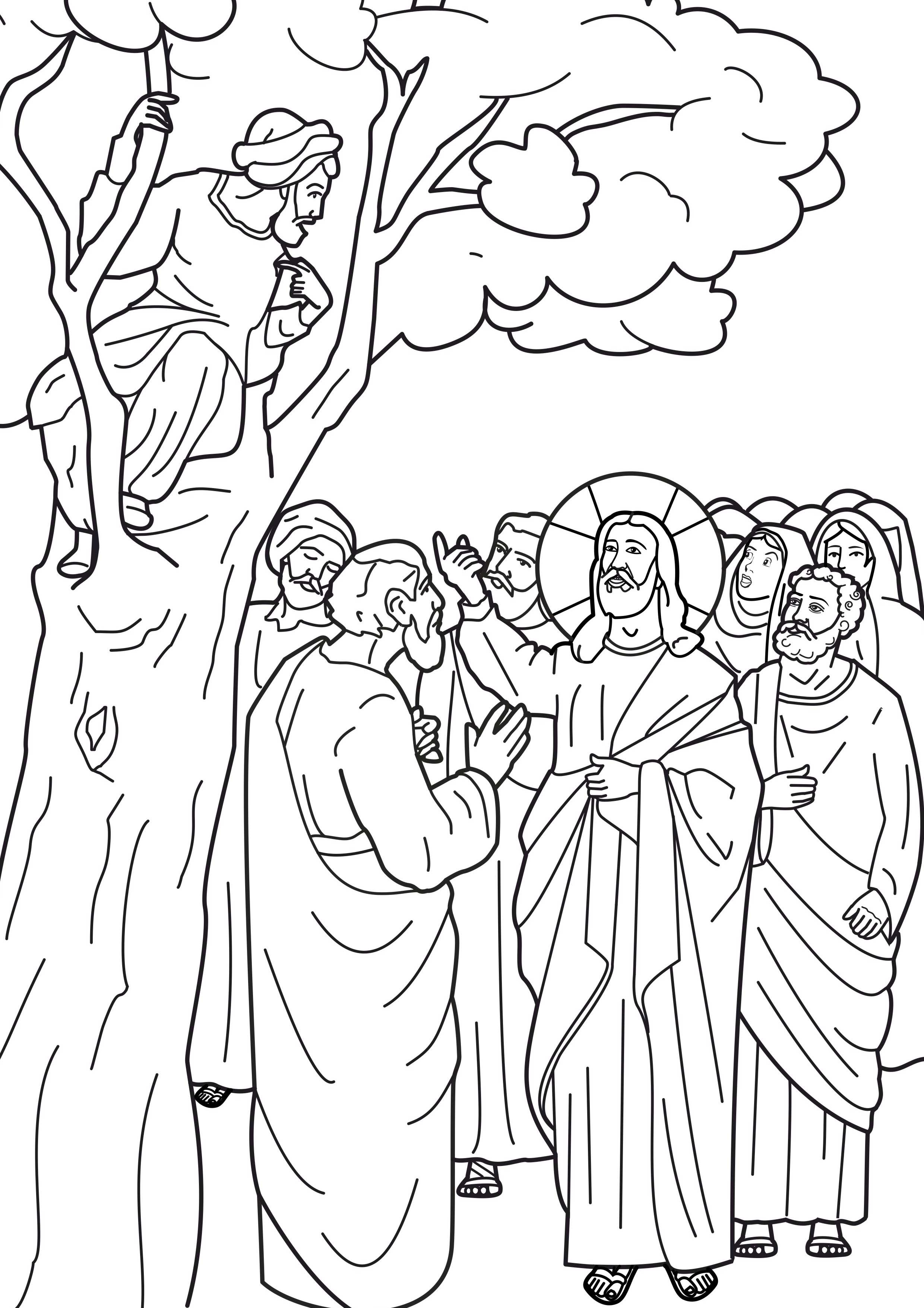 Jesus And Zacchaeus Coloring Pages Zacchaeus In A Tree Coloring