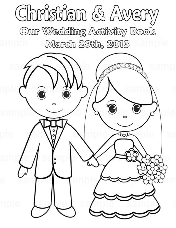 bride and groom coloring pages # 23