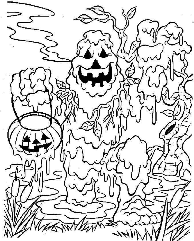 Scary Pumpkins Halloween Coloring Pages Coloring Home