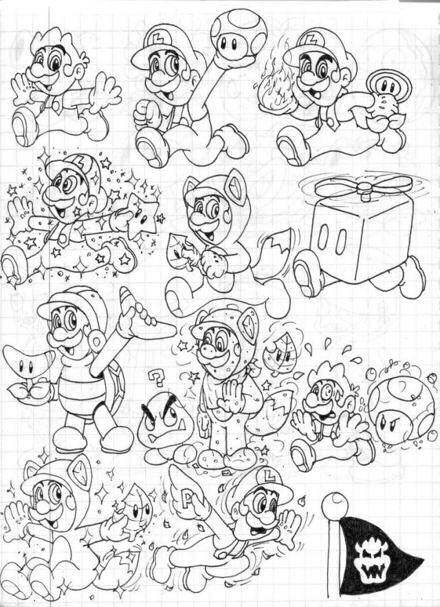 Coloring Pages Mario 9d World - Coloring Home