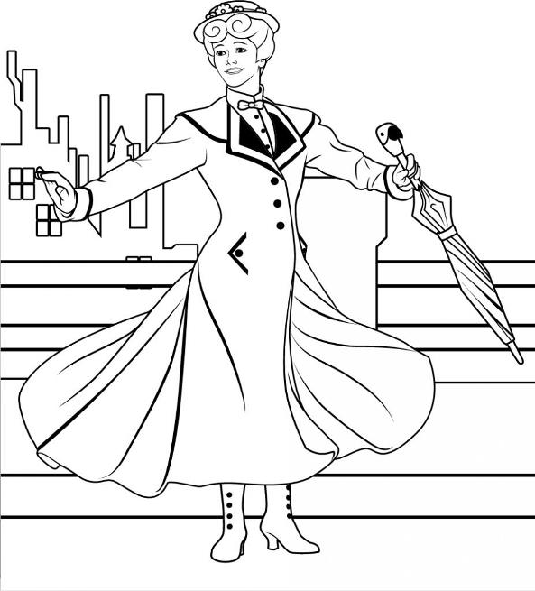 mary poppins coloring pages # 7