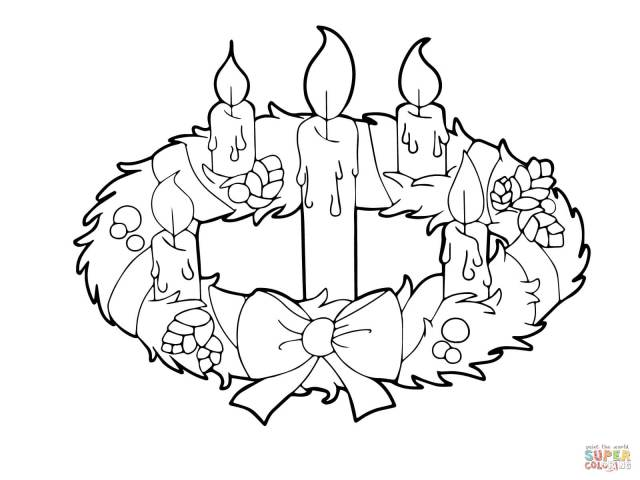 Advent Wreath And Candles Coloring Page  Free Printable Coloring