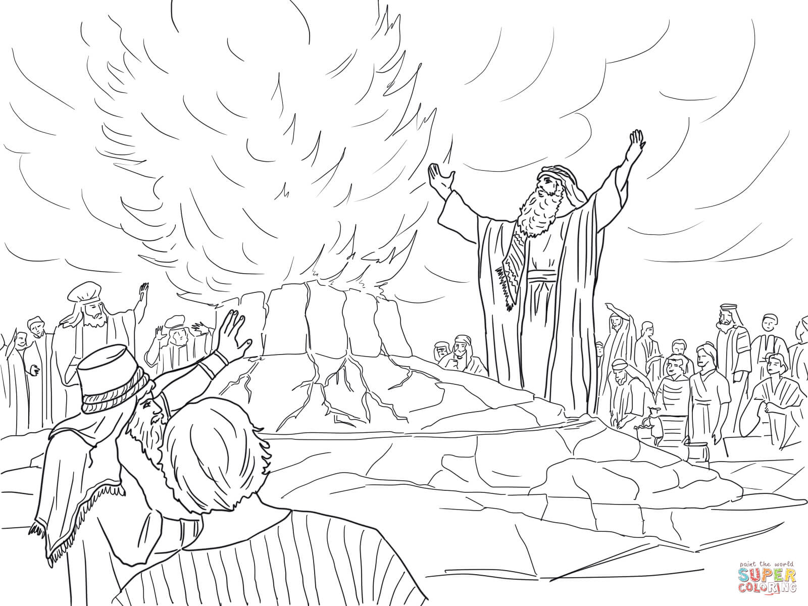 Elijah Burning Altar Coloring Pages