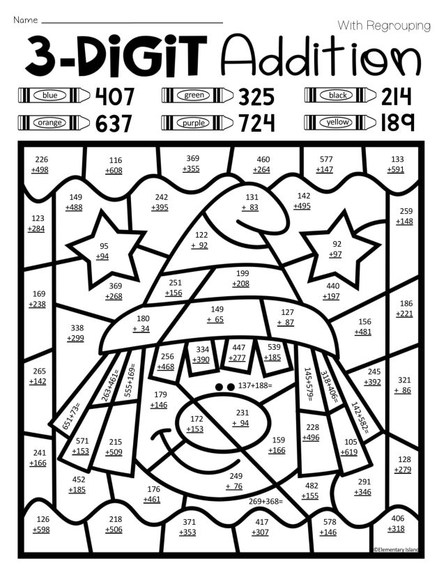Multiplication Color By Number Math Worksheets Coloring Pages For
