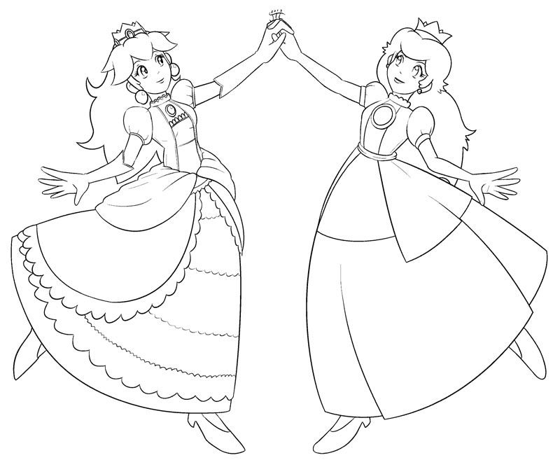 princess peach and daisy coloring pages  coloring home
